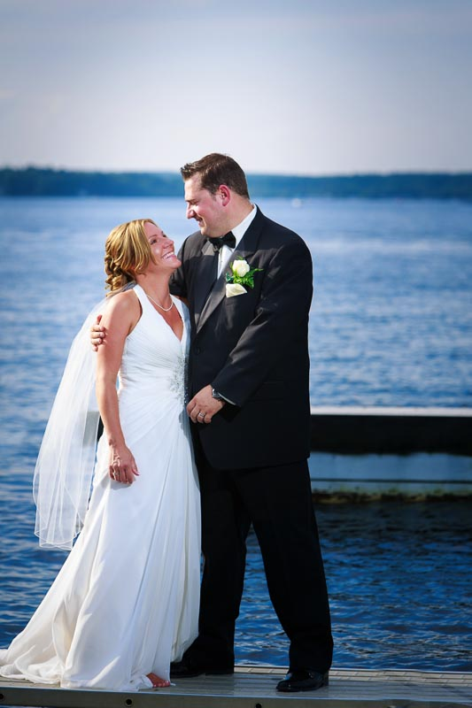 Bride and Groom outdoor portrait on the water
