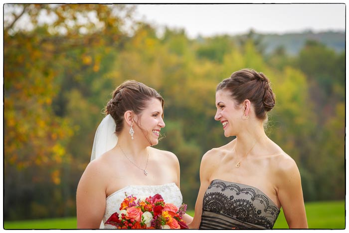 Bride and Maid of honor portrait, Western Massachusetts Wedding photographer