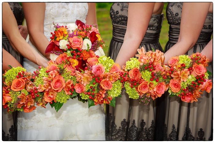 Bridal Party with flowers, Western Massachusetts Wedding photographer