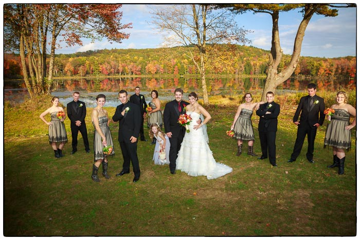Out door bridal party portrait, Western Massachusetts Wedding photographer