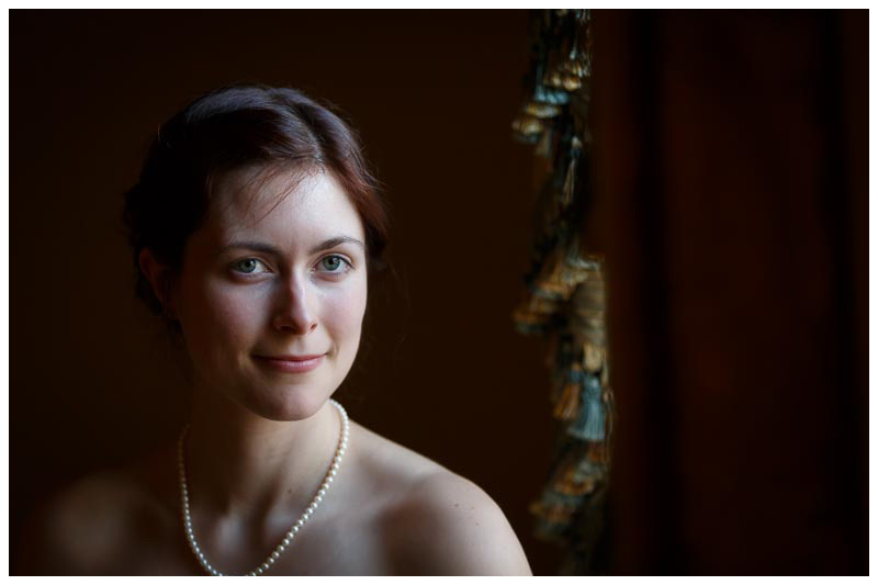 Window light bridal portait