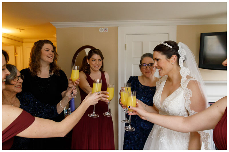 Bride and Bridesmaids with Mimosas at the Inn on Boltwood