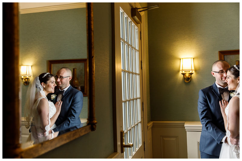 Wedding day Bride and Groom portrait by the upper deck at the Inn on Boltwood