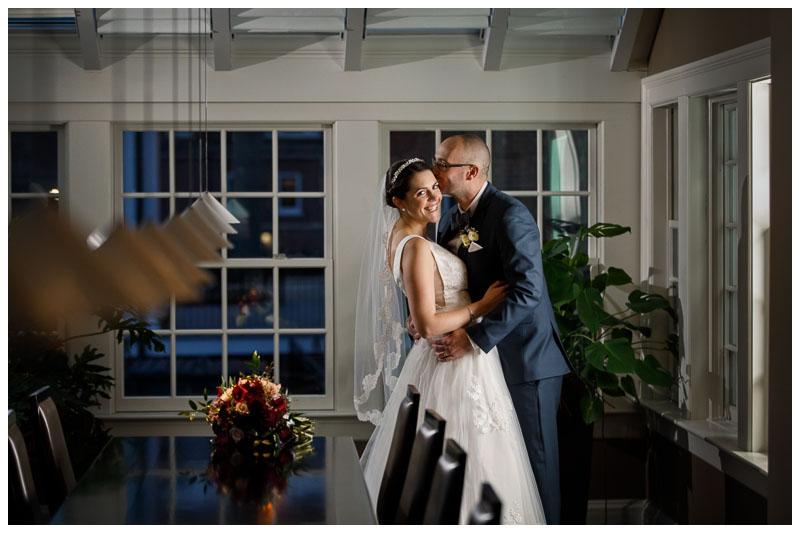 Stunning bride and groom portrait inside 30 Boltwood